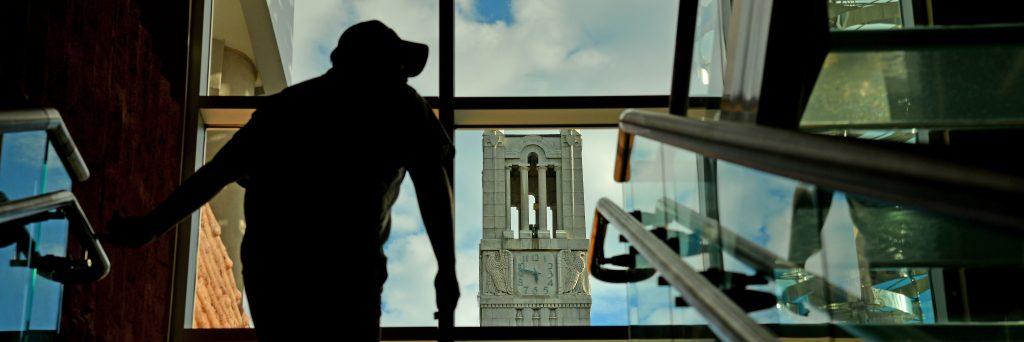 Photo of the Belltower through a window.