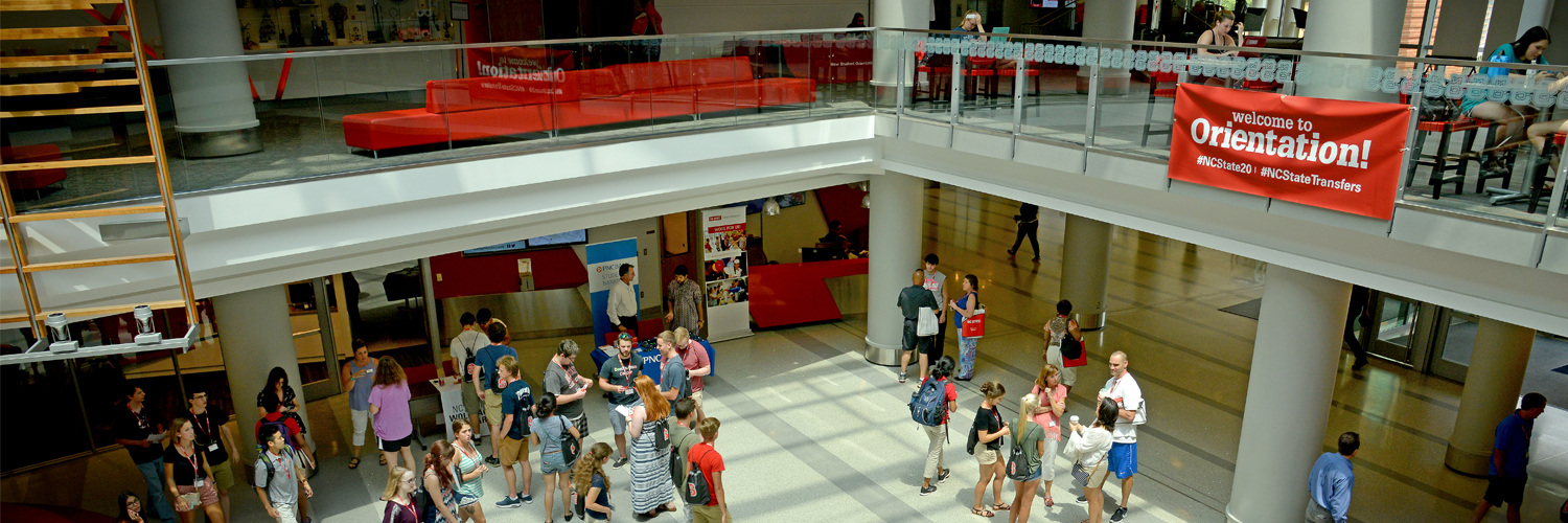 New students and parents congregate in Talley Student Union for orientation.