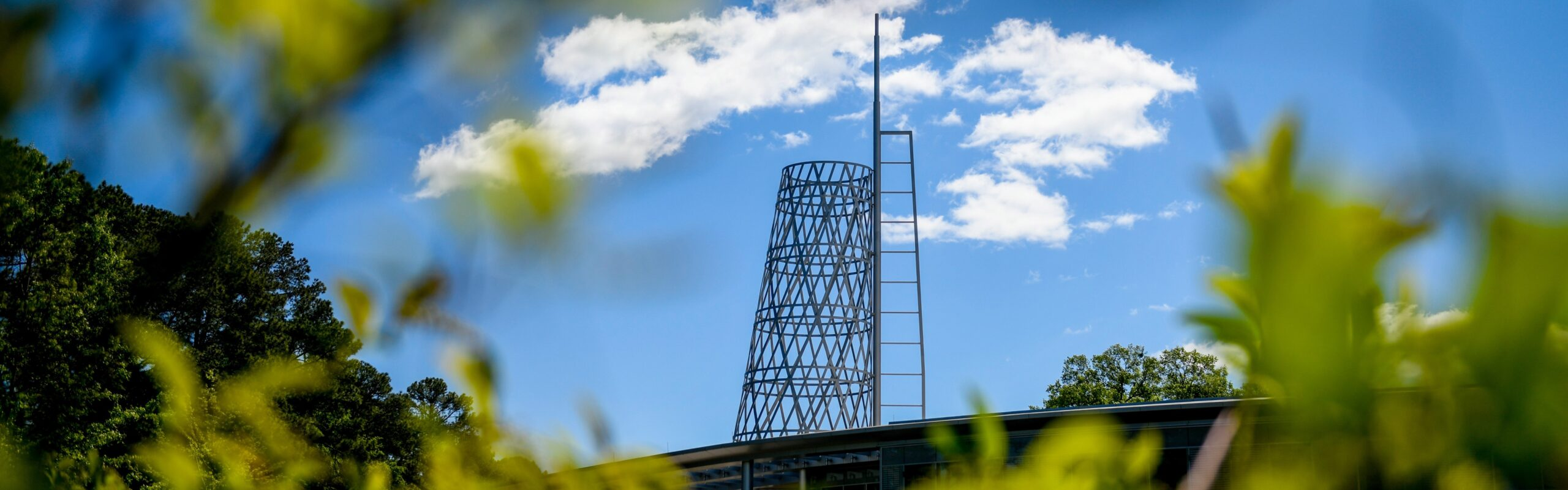 Tech Tower reaches into the blue sky above Talley Student Union